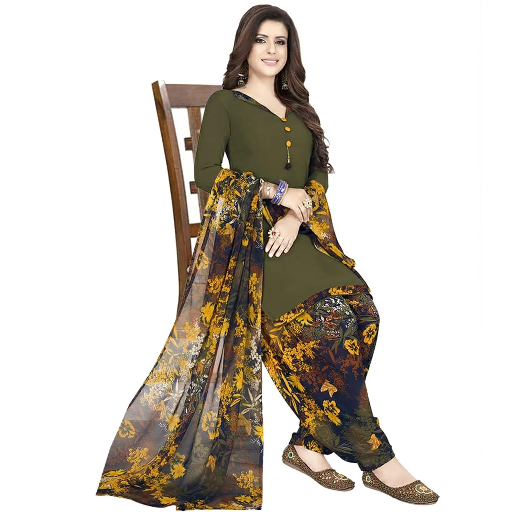 Exotic Casual Wear Printed Crepe Patiala Dress material - Pack of 2