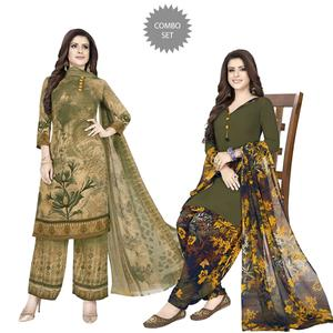 Marvellous Casual Wear Printed Crepe Dress Material - Pack Of 2