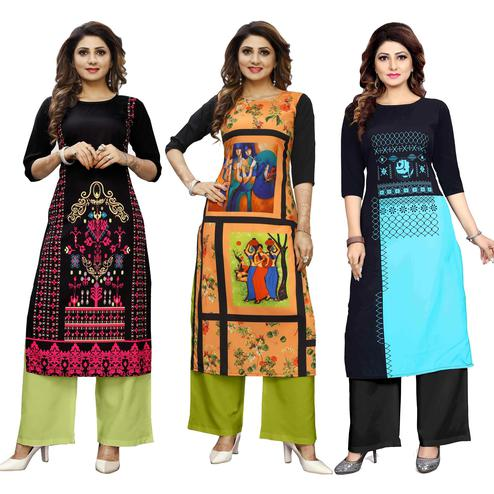 Intricate Casual Wear Digital Printed Crepe Kurti - Pack of 3