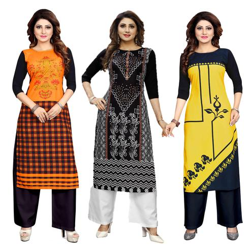 Arresting Casual Wear Digital Printed Crepe Kurti - Pack of 3