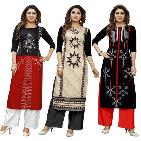 Exotic Casual Wear Digital Printed Crepe Kurti - Pack of 3