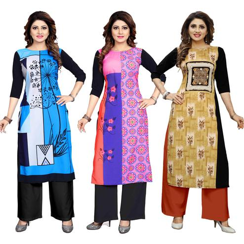 Sophisticated Casual Wear Digital Printed Crepe Kurti - Pack of 3