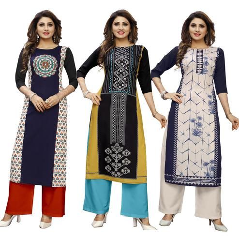 Trendy Casual Wear Digital Printed Crepe Kurti - Pack of 3