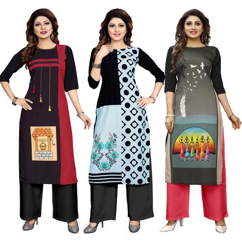 Elegant Casual Wear Printed Crepe Kurti - Pack of 3
