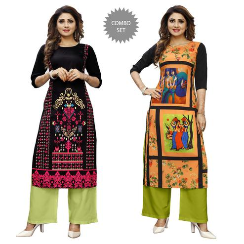 Adorable Casual Wear Digital Printed Crepe Kurti - Pack of 2