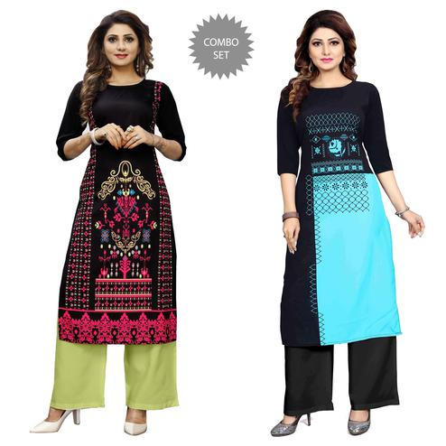 Glorious Casual Wear Digital Printed Crepe Kurti - Pack of 2