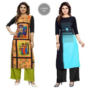 Beautiful Casual Wear Digital Printed Crepe Kurti - Pack of 2