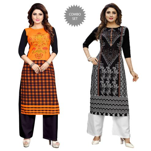 Graceful Casual Wear Digital Printed Crepe Kurti - Pack of 2