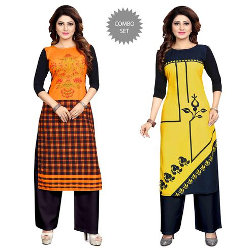 Blooming Casual Wear Digital Printed Crepe Kurti - Pack of 2
