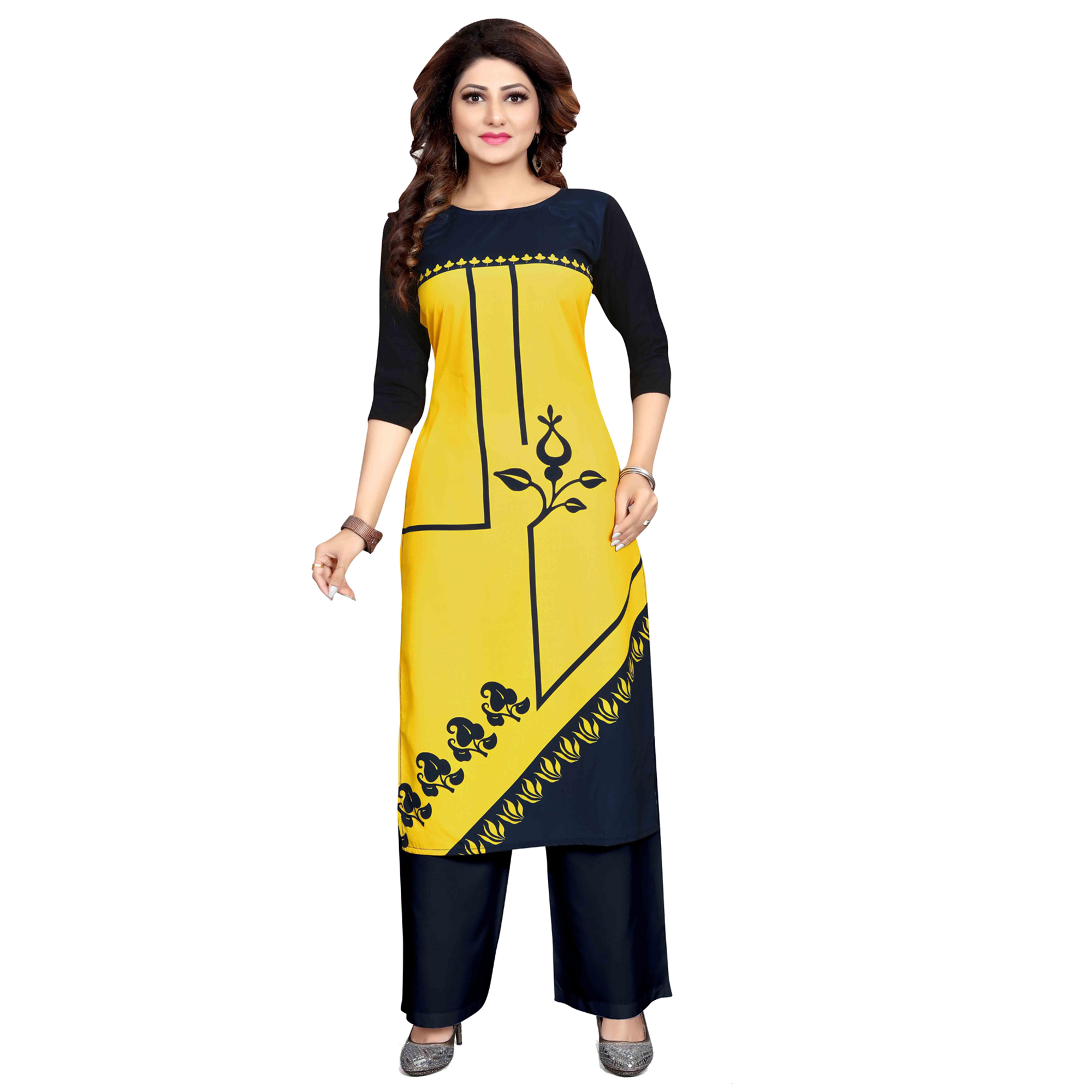 Charming Casual Wear Digital Printed Crepe Kurti - Pack of 2