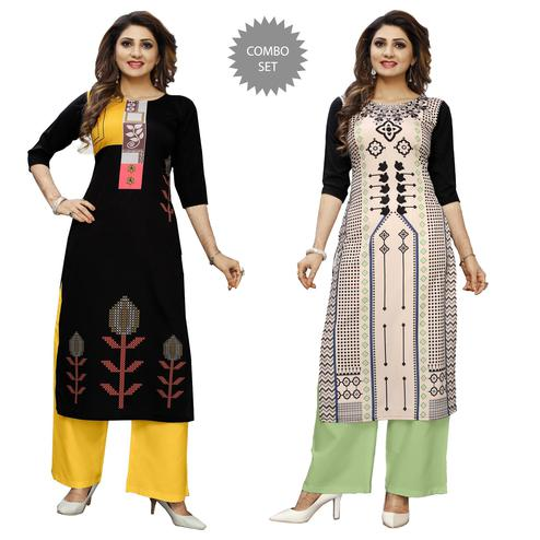 Jazzy Casual Wear Digital Printed Crepe Kurti - Pack of 2