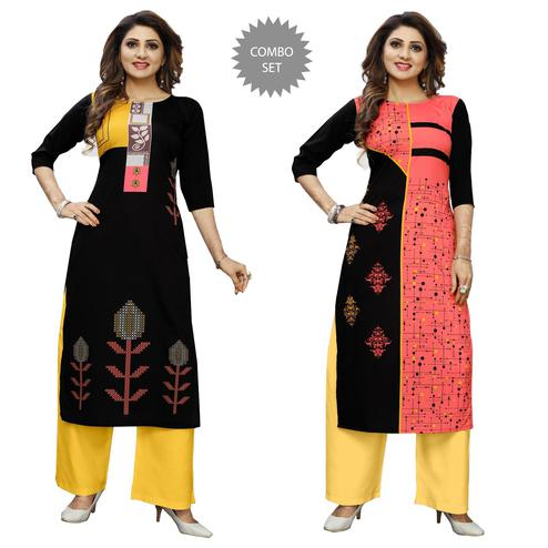 Delightful Casual Wear Digital Printed Crepe Kurti - Pack of 2