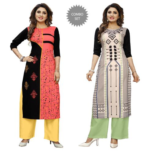 Engrossing Casual Wear Digital Printed Crepe Kurti - Pack of 2