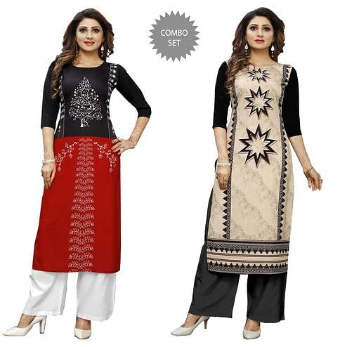 Captivating Casual Wear Digital Printed Crepe Kurti - Pack of 2