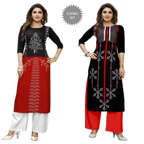 Innovative Casual Wear Digital Printed Crepe Kurti - Pack of 2