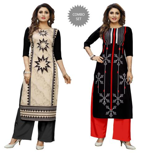 Eye-catching Casual Wear Digital Printed Crepe Kurti - Pack of 2