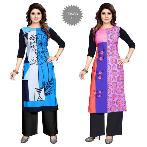 Fantastic Casual Wear Digital Printed Crepe Kurti - Pack of 2