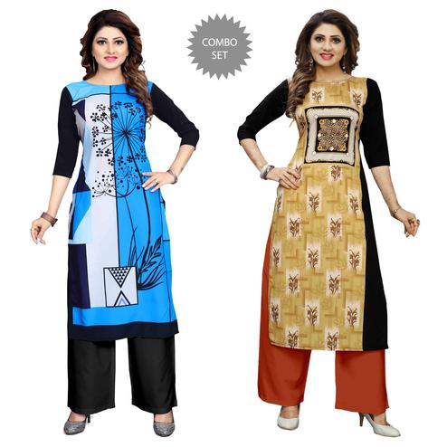 Amazing Casual Wear Digital Printed Crepe Kurti - Pack of 2