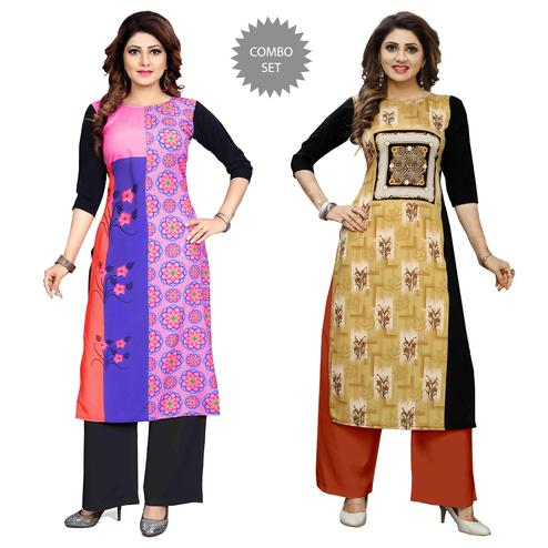 Gorgeous Casual Wear Digital Printed Crepe Kurti - Pack of 2