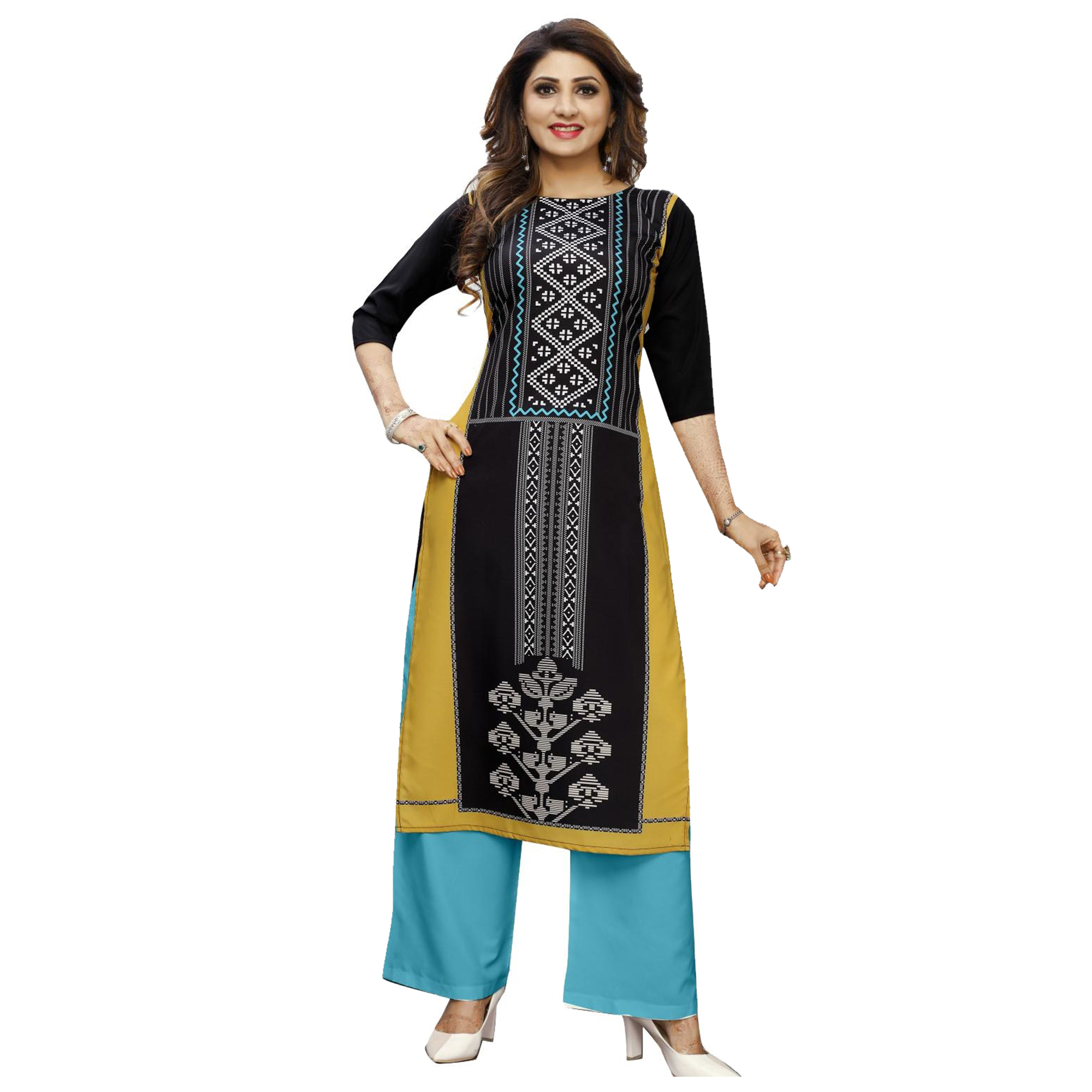 Blissful Casual Wear Digital Printed Crepe Kurti - Pack of 2
