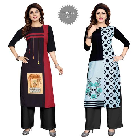 Lovely Casual Wear Digital Printed Crepe Kurti - Pack of 2