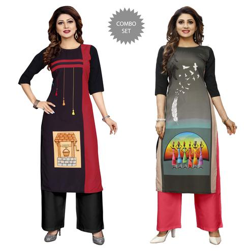 Majesty Casual Wear Digital Printed Crepe Kurti - Pack of 2
