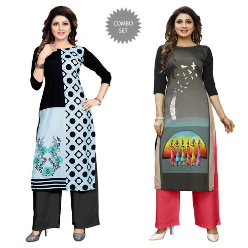 Impressive Casual Wear Digital Printed Crepe Kurti - Pack of 2