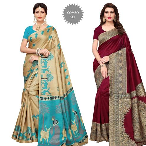 Stunning Casual Wear Printed Khadi Silk-Art Silk Saree - Pack Of 2