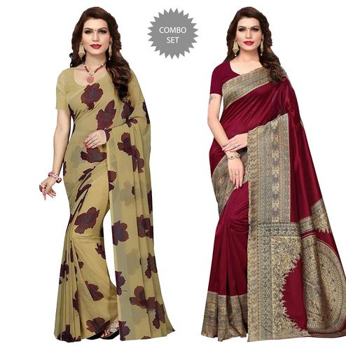 Classy Casual-Festive Wear Printed Georgette-Art Silk Saree - Pack Of 2