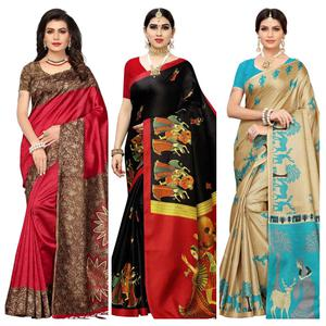 Pleasant Festive-Casual Wear Printed Saree - Pack Of 3