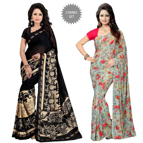 Gorgeous Casual Wear Printed Georgette Saree - Pack Of 2