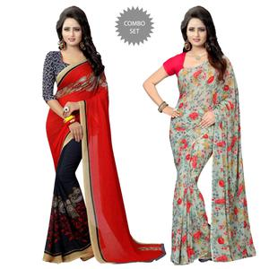 Amazing Casual Wear Printed Georgette Saree - Pack Of 2