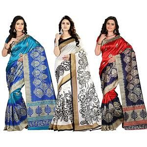 Blue - White - Red Art Silk Saree (Pack of 3)