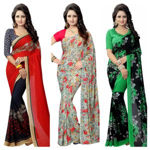 Jazzy Casual Wear Printed Georgette Saree - Pack Of 3
