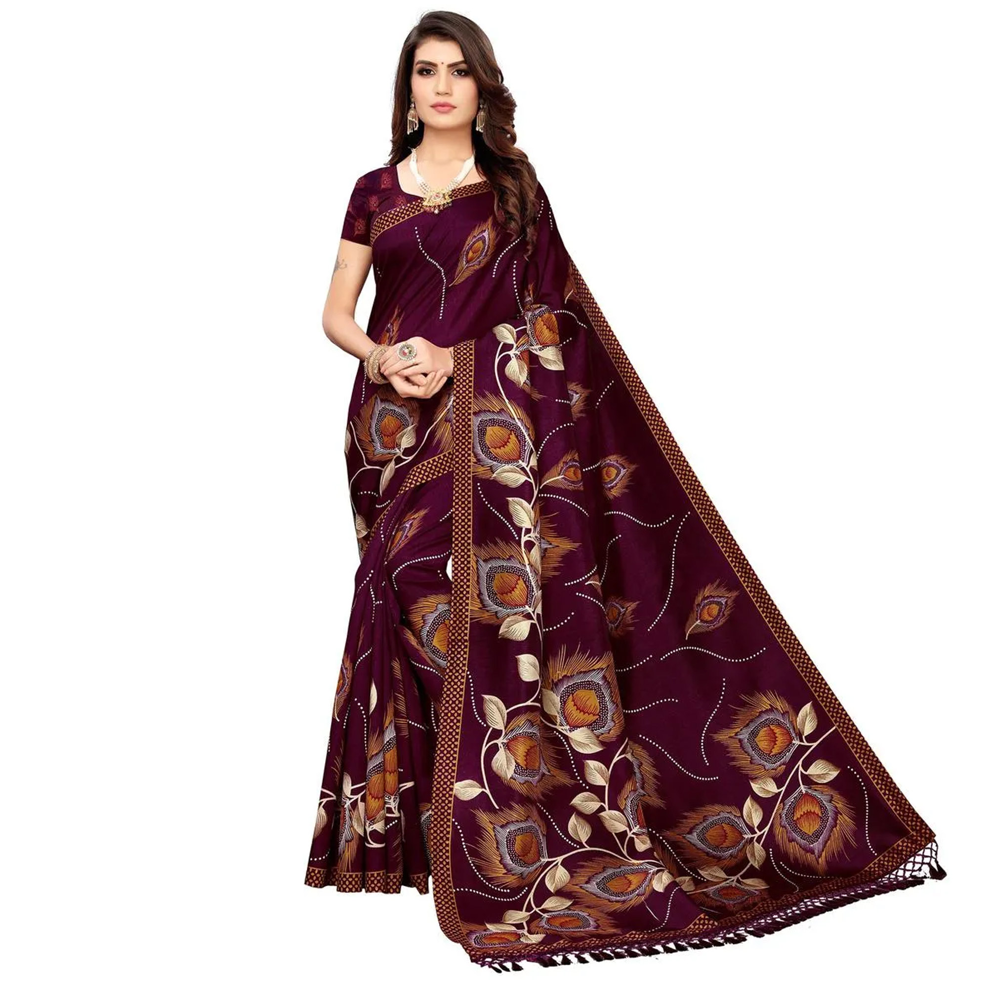 Impressive Festive-Casual Wear Printed Zoya Silk-Art Silk Saree - Pack Of 2