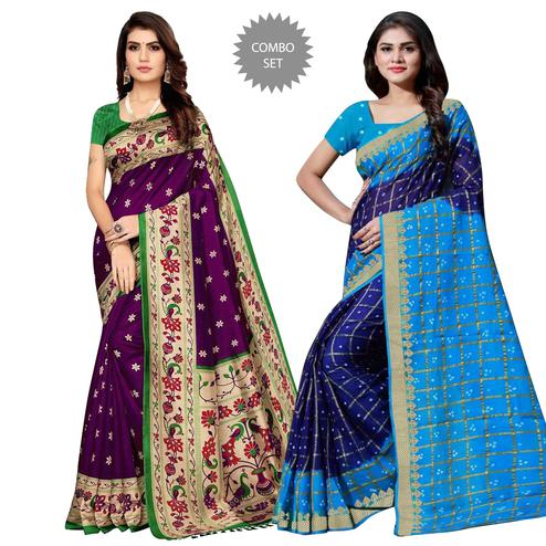Captivating Festive-Casual Wear Printed Zoya Silk-Art Silk Saree - Pack Of 2