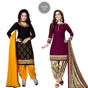 Appealing Casual Wear Printed Crepe Patiala Suit - Pack of 2