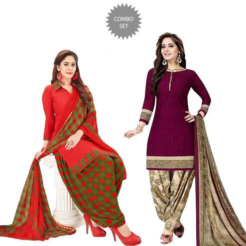 Capricious Casual Wear Printed Crepe Patiala Suit - Pack of 2