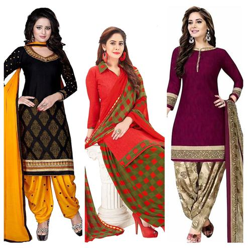 Adorning Casual Wear Printed Crepe Patiala Suit - Pack of 3