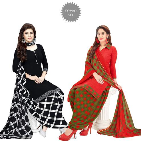 Exclusive Casual Wear Printed Crepe Patiala Suit - Pack of 2