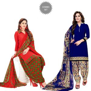 Opulent Casual Wear Printed Crepe Patiala Suit - Pack of 2