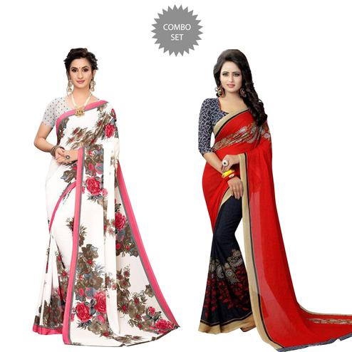 Glowing Casual Wear Printed Georgette Saree - Pack of 2