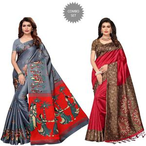 Exceptional Festive Wear Printed Khadi Silk-Art Silk Saree - Pack of 2