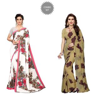 Gleaming Casual Wear Printed Georgette Saree - Pack of 2