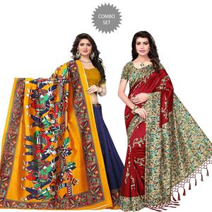 Mesmeric Printed Art Silk Saree - Pack of 2