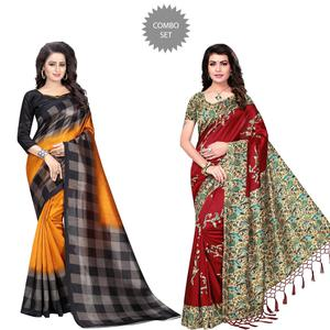Refreshing Printed Art Silk Saree - Pack of 2