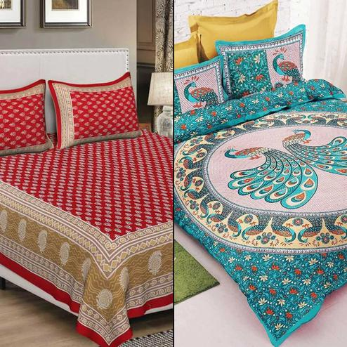 Refreshing Printed Bed Sheets With 2 Pillow Covers - Pack of 2