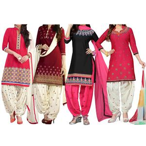 Pack of 4 Casual Wear Patiala Suit