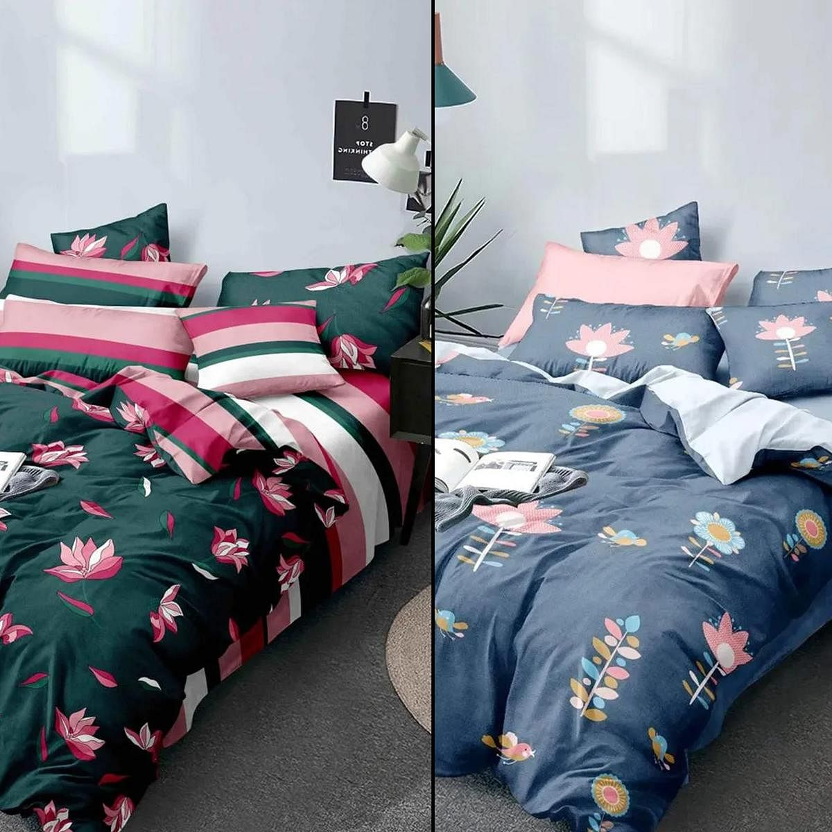 Elegant Printed Bed Sheets With 2 Pillow Covers - Pack of 2
