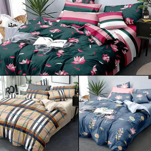 Radiant Printed Bed Sheets With 2 Pillow Covers - Pack of 3